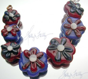 Martha's Flowers lampwork beads for sale