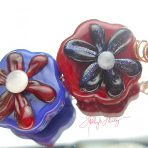 CU of Martha's Flower Lampwork bead set for sale