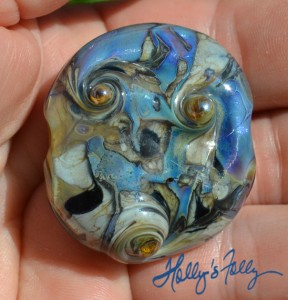 Vortex size blue glass bead