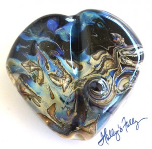 night sea Heart Glass Bead