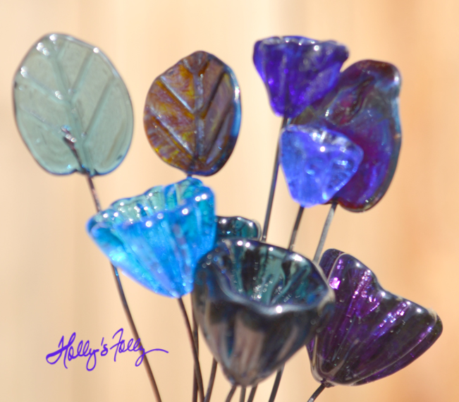 blue glass bead bellflowers