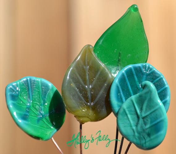 glass leaves headpins