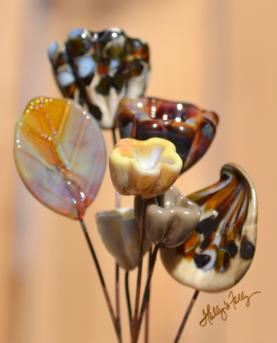 Earthy glass bead Bell Flowers